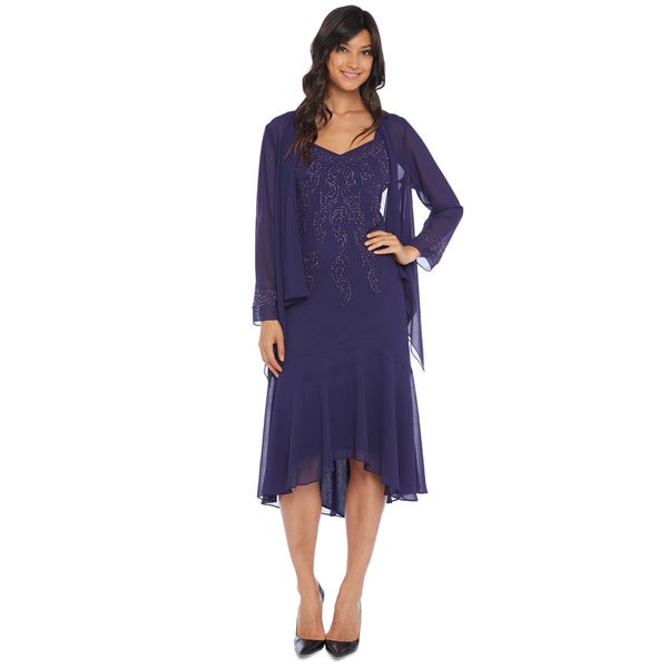 R&M Richards Purple Hi Lo Jacket Dress