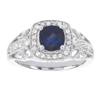 H Star 14k White Gold 7/8ct TDW Diamond and Cushion Sapphire Engagement Ring (I-J, I2)