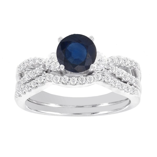 H Star 14k White Gold 1/2 ct Diamond and Round Sapphire Wedding Ring Set (I-J, I2)