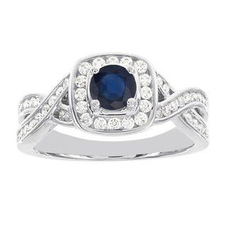 H Star 14k White Gold 1/3ct TDW Diamond and Round Sapphire Engagement Ring (I-J, I2)
