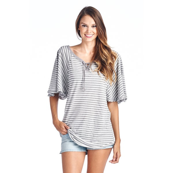 Women's Grey Stripe T-Shirt