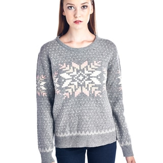 Women's Grey and Pink Fair Isle Pullover Sweater