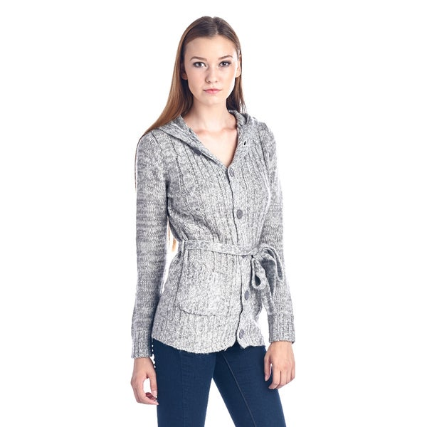 Women's Grey Belted Fashion Cardigan Sweater