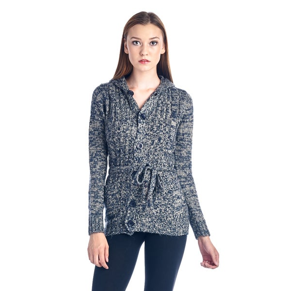 Women's Grey and White Belted Fashion Sweater