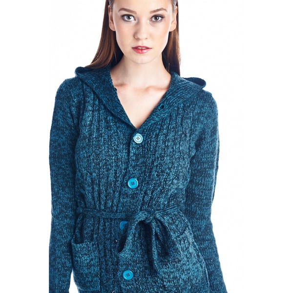 Women's Teal Belted Fashion Sweater