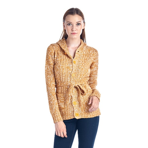 Women's Yellow Belted Cardigan Sweater