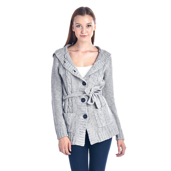 Women's Grey Hooded Cotton Blend Button-Down Sweater