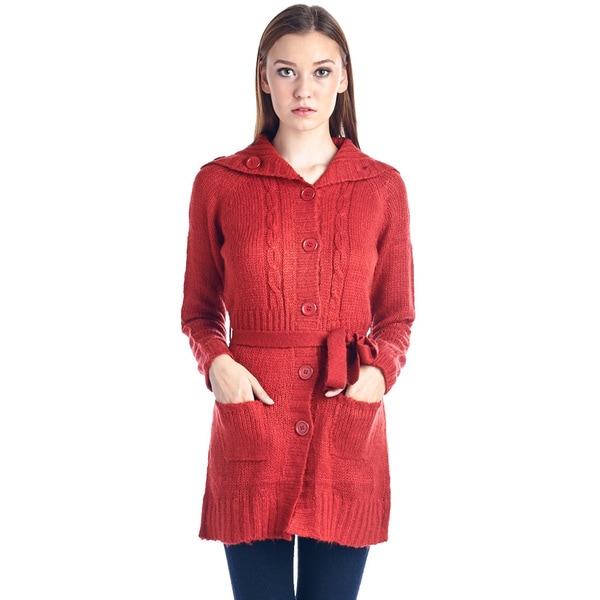 Women's Cotton Red Button-Down Sweater