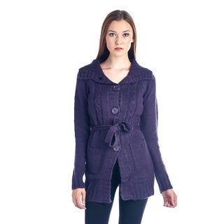 Women's Cotton-Blend Purple Button-Down Sweater