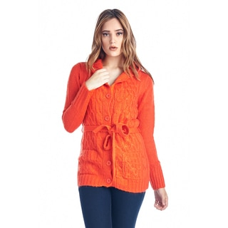 Women's Orange Belted Knit Button-Up Sweater