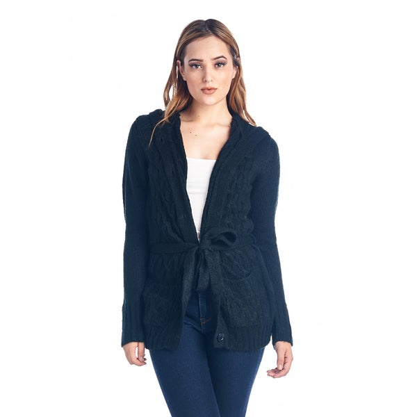 Women's Black Belted Knit Button Up Cardigan Sweater