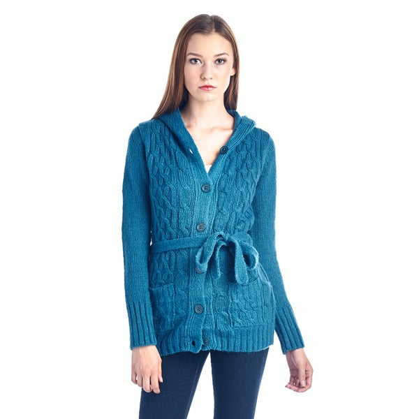 Women's Teal Belted Knit Button-Up Sweater