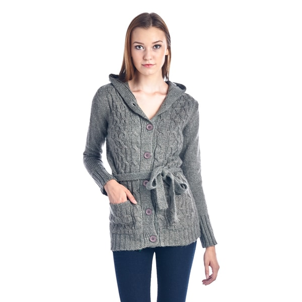Women's Dark Grey Belted Knit Button-Up Sweater