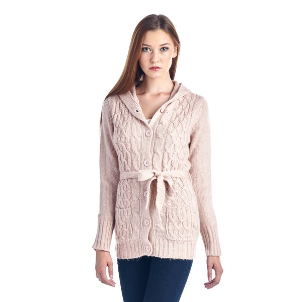 Women's Light Pink Belted Knit Button Up Sweater