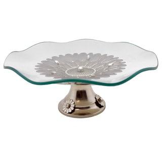 Waved Round Platter on Metal Base