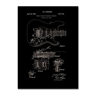 Claire Doherty 'Fender Guitar Tremolo Patent 1956 Black' Canvas Wall Art