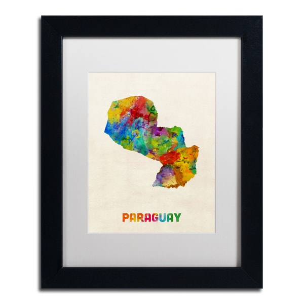 Michael Tompsett 'Paraguay Watercolor Map' White Matte, Black Framed Wall Art