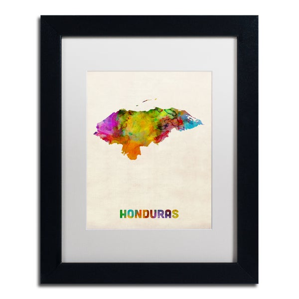 Michael Tompsett 'Honduras Watercolor Map' White Matte, Black Framed Wall Art