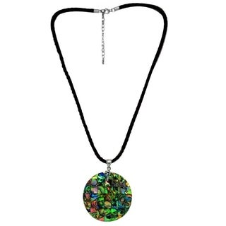 Sterling Silver Round Abalone Shell Fancy Pendant Necklace