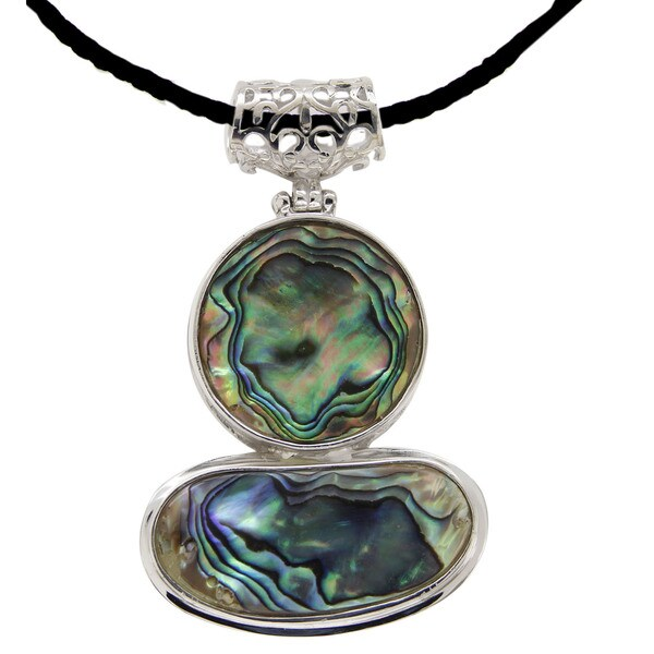 Sterling Silver Abalone Shell Fashion Pendant Necklace.