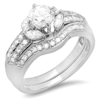 14K White Gold 1 2/5ct TDW Round and Marquise White Diamond Bridal Ring Set (J-K, I1-I2)