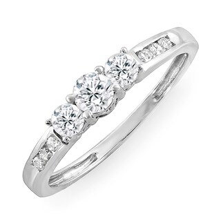 14k White Gold 1/2 ct. TDW Round Diamond 3-Stone Engagement Bridal Ring (J-K, I1-I2)