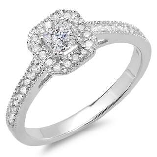 10K White Gold 1/2 ct. TDW Princess & Round Diamond Halo Style Bridal Engagement Ring 1/2 CT (J-K, I1-I2)