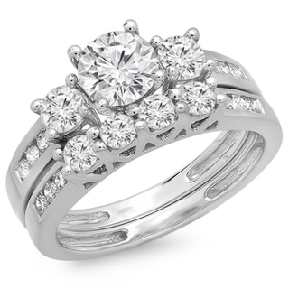 14K White Gold 1 7/8ct. TDW Round Diamond Bridal 3 Stone Engagement Ring Set (J-K, I1-I2)