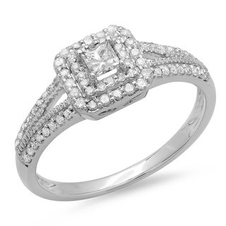 14K White Gold 1/2ct. TDW Princess & Round Cut Diamond Split Shank Bridal Halo Engagement Ring 1/2 CT (J-K, I1-I2)