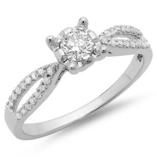 10K White Gold 1/2ct. TDW Round Diamond Solitaire Split Shank Engagement Ring 1/2 CT (J-K, I1-I2)