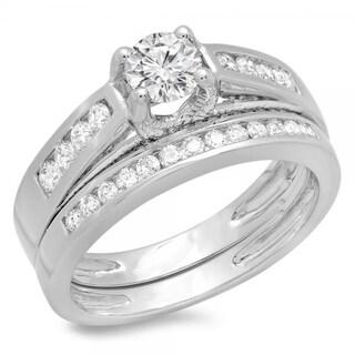 14K White Gold 1ct. TDW Round Diamond Vintage Style Bridal Engagement Ring Set (J-K, I1-I2)