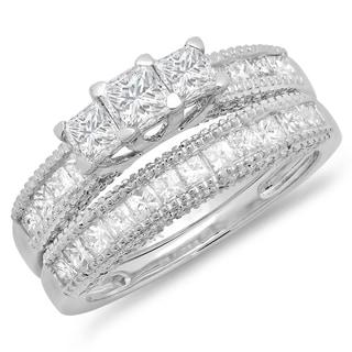 14K White Gold 2 1/3ct. TDW Princess & Round Diamond Bridal 3 Stone Engagement Ring Wedding Band Set (J-K, I1-I2)