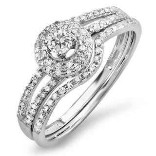 14K White Gold 1/2ct. TDW Round Diamond Bridal Split Shank Halo Style Engagement Ring Set (J-K, I1-I2)