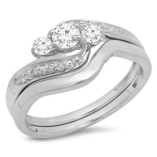 14K White Gold 1/2ct. TDW Round Diamond Swirl 3 Stone Bridal Engagement Ring Set(J-K, I1-I2)