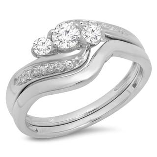10K White Gold 1/2ct. TDW Round Diamond Swirl 3 Stone Bridal Engagement Ring Set(J-K, I1-I2)