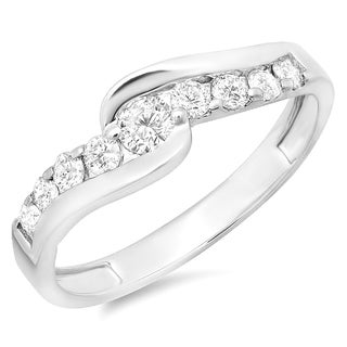 14K White Gold 1/2ct. TDW Round Diamond Bridal Engagement Ring 1/2 CT (J-K, I1-I2)