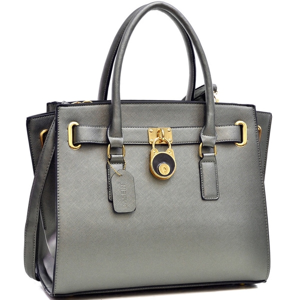 Dasein Saffiano Leather Belted Medium Tote Bag