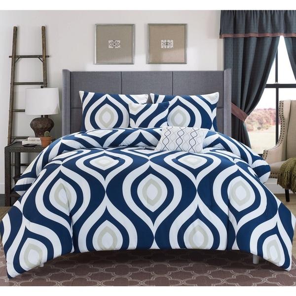 Brook Printed Reversible 5-piece Comforter Set