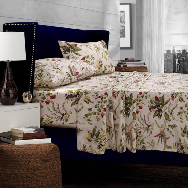 Maui Floral Printed Egyptian Cotton Percale Extra Deep Pocket Sheet Set with Oversize Flat or Pillowcase Separates