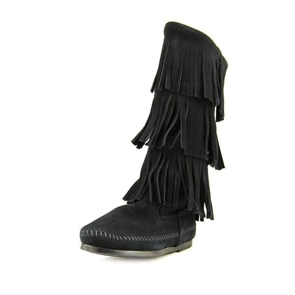 Minnetonka Women's 'Calf Hi 3 Layer Fringe' Regular Suede Boots