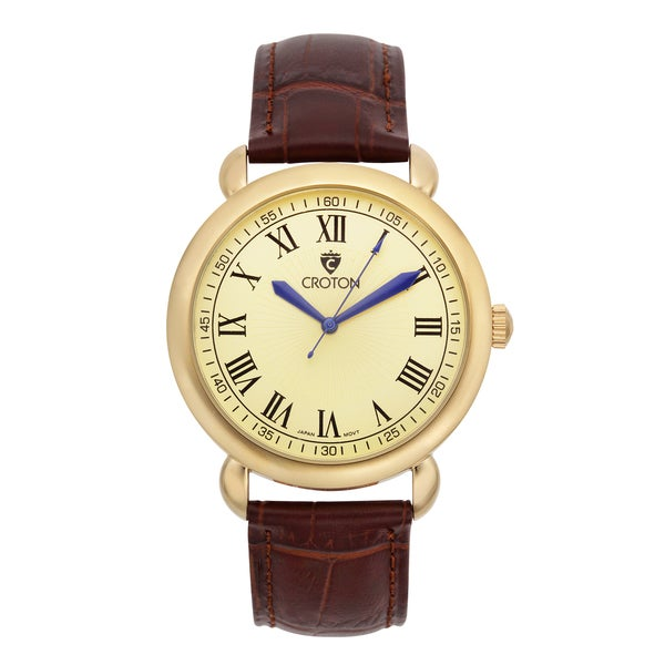Men's Goldtone Stainless Watch with Champagne Dial and Brown Leather Strap