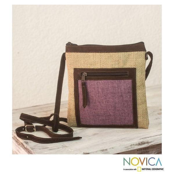 Handcrafted Jute Linen 'Organic Lilac' Shoulder Bag (Guatemala)