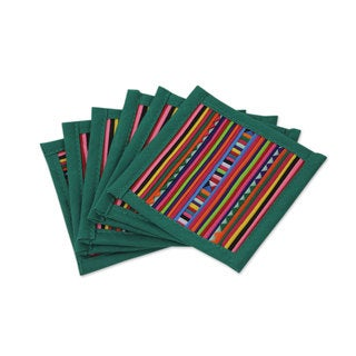 Set of 6 Handcrafted Cotton 'Lahu Jade' Coasters (Thailand)