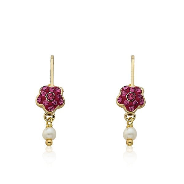 Molly Glitz 'Flowery Glitz' 14k Goldplated Crystal Flower and Fresh Water Pearl Dangle Leverback Earring