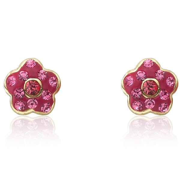 Molly Glitz 'Flowery Glitz' 14k Goldplated Navy Blue Enamel Flower Stud Earring Accented with Crystals