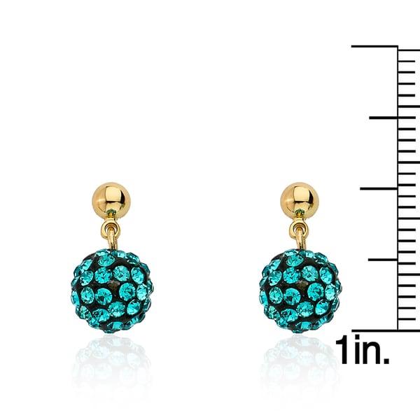 Molly Glitz 'Glitz Blitz' 14k Goldplated Clear Crystal Ball Dangle Earrings