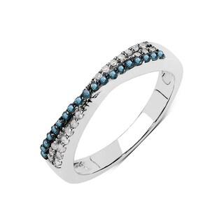 Olivia Leone Sterling Silver 1/5ct TDW Blue and White Diamond Ring (I-J, I2-I3)