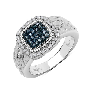 Malaika Sterling Silver 1/3ct Blue and White Diamond Ring (I-J, I2-I3)