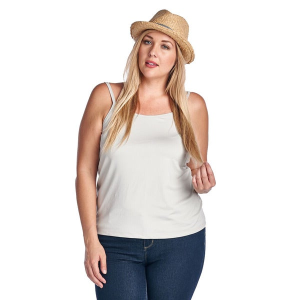Women's Plus Light Grey Silky Slim Strap Tank