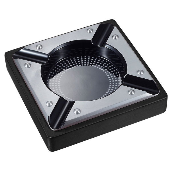 Visol Iris Metal and Black Matte Wood Cigar Ashtray